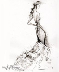 by Leanne Marshall, from Project Runaway sketches for Kate Middleton's wedding (via my lifetime)