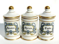 French Vintage Small Porcelain Apothecary by SouvenirsdeVoyages