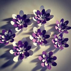 3D Wall flowers - set of 9. $11.00, via Etsy.