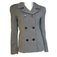 CHRISTIAN DIOR Suit Vintage Black White Striped 100% Wool Blazer Jacket 8 JT123 #ChristianDior #Blazer