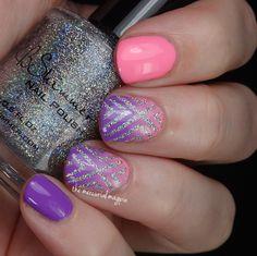 Pink, Purple & Silver Gradient Nails