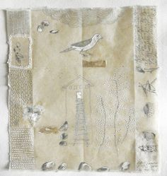 Patti Roberts-Pizzuto, mixed media drawing dipped in beeswax on handmade paper