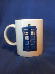 Hand painted stoneware mug Dr Who quote TARDIS by TheCyberPhoenix, £7.00