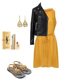 """Gold Shadow"" by plaka-sandals on Polyvore featuring NOVICA, Witchery and Yves Saint Laurent"