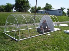 PVC chicken run to attach to the coop.  Design is simple...think I could do it for the garden rows.