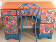 Rehabbed desk and chair, paint and decoupage