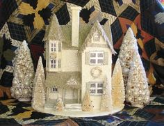 paper mache house | Cream Silver Large Victorian Putz Christmas House Paper Mache | eBay