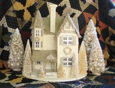 paper mache house | Cream Silver Large Victorian Putz Christmas House Paper Mache | eBay