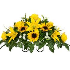Discover thousands of images about Yellow Sunflower and Stargazer Lilies Sunflower Floral Arrangements, Funeral Floral Arrangements, Floral Centerpieces, Grave Flowers, Cemetery Flowers, Funeral Flowers, Cemetary Decorations, Stargazer Lilies, Memorial Flowers