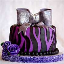 6 inch Chocolate Chocolate-Chip Cake covered in Purple Vanilla Fondant and Black Chocolate Fondant with Fondant bow and ribbon roses . Zebra Birthday Cakes, 9th Birthday Cake, Purple Birthday, Happy Birthday, Chocolate Chip Cake, Chocolate Fondant, Teenage Girls Birthday Party Ideas, Birthday Ideas, Sweet Sixteen Cakes