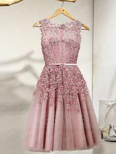 Delicate A Line Scoop Neck Applique Short Prom Dress 12188293 - Junior Prom Dresses - Dresswe.Com