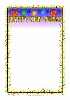 happy new year a4 page borders sb3590