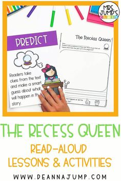 """The Recess Queen is a great read aloud when learning important social and emotional skills at the beginning of the year. These """"The Recess Queen"""" activities will help students practice reading comprehension skills using the book."""