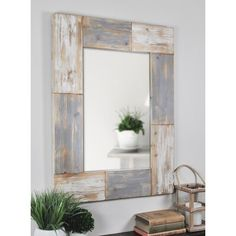 high and 24 in. wide, the Mason Planks Mirror by Firstime gives off a rustic farmhouse look. The solid wood frame alternates between aged white finished and distressed gray finished planks. The Mason Planks Mirror includes hanging h Grey Wall Mirrors, Farmhouse Wall Mirrors, Mirror Wall Clock, Window Mirror, Shell Mirrors, Vanity Mirrors, Framed Mirrors, Rustic Mirrors, Wood Mirror