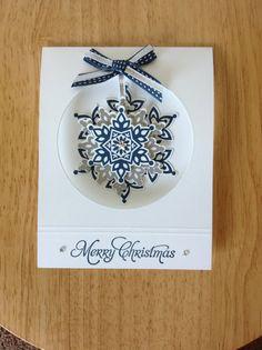 Stampin Up handmade Christmas card hanging snowflake