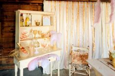 Love the contrast of the pale pink and gold ribbons, could be gorgeous as an overlay to the iron gate