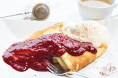 Naleśniki z serem, sosem malinowym i bitą śmietaną Allrecipes, French Toast, Good Food, Breakfast, Desserts, Morning Coffee, Tailgate Desserts, Deserts, Postres