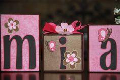 Custom Wooden Letter Blocks Set  Mia  Pretty by SuzanKiernicki, $5.00