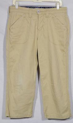 LEVI'S Light Khaki Cropped Capri Pants 8 Stretch Cotton Four Pockets Summer #Levis #CaprisCropped