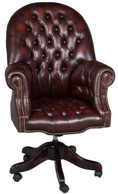 Large Tufted Leather Desk Chair