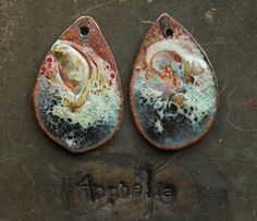 free cut blue and white swirl madness copper enamel with glass lampwork jewelry supplies 2pc 4ophelia