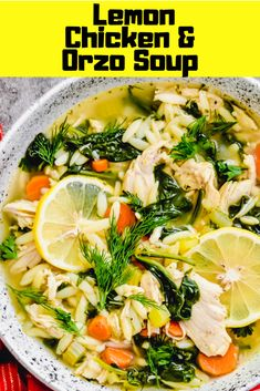 Instant Pot Lemon Chicken Orzo Soup is cozy and comforting with bright fresh flavor from the lemons. This soup is healthy and tasty, made with simple ingredients, and the perfect meal for any night of the week. Healthy Chicken Soup, Pre Cooked Chicken, Lemon Chicken Orzo Soup, Chicken Pasta, Clean Eating Pasta, Clean Eating Chicken, Clean Eating Recipes, Lemon Soup, Bistro