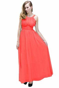 Beautifly Women's Halter Lux Chiffon Ball Gown Dress #WomensDress #Long #Chiffon #Halter #Dress