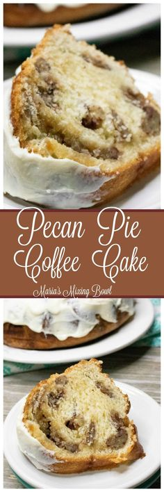 Pecan Pie Coffee Cake Recipe - Pecan pie and coffee cake meet to create anincredible dessert. Perfect served for breakfast or dessert! Köstliche Desserts, Delicious Desserts, Cake Recipes, Dessert Recipes, Pecan Recipes, Brunch Recipes, Dinner Recipes, Brownies, Cheesecake
