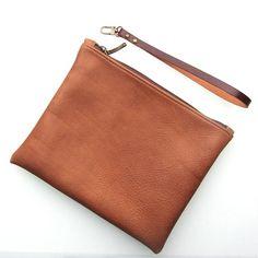Fold over clutch / zipper pouch / wristlet  in cognac  by rinarts