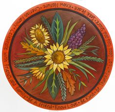 """*Quirks of Art loves this sunflower, harvest themed Susan Design!* When it comes to functional artwork, there's nothing better than a Lazy Susan from Sticks. A great gift, and a practical addition to any home. Each piece can be customized, to include size, design, & sayings. Contact us today to buy or customize! Clean with soap and water.  Sticks® 20"""" Lazy Susan are $399 and 24"""" Lazy Susan are $499  (* Larger sizes are custom orders; Please allow 4 - 6 weeks for delivery.)"""