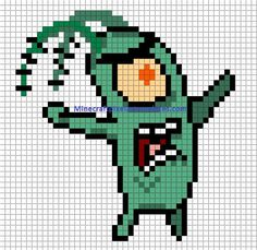Plankton perler pattern - Minecraft Pixel Art Templates bead patterns, fuse beads, perler pattern