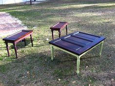 Door Upcycle into patio furniture - potential use of old cabinet doors.