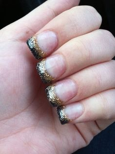 Black and gold gel nails