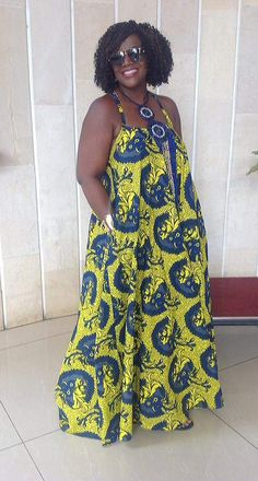 For go to African outfit, check her out. Another simple African dress beautiful vibrant colors and the necklace makes it rich. Love the pockets African Dresses For Women, African Print Dresses, African Attire, African Prints, African Wear, African Fashion Dresses, African Women, African Inspired Fashion, African Print Fashion