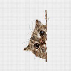 Cross Stitch Pattern Peek A Cat Printable by ZGCROSSSTITCHPATTERN