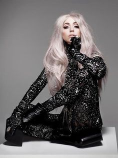 Lady gaga vanity fair 2010 black suit lavender blonde hair photoshoot photography high fashion model