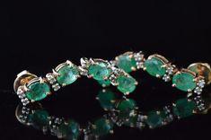 Emerald Jewelry, Emerald Gemstone, Gems Jewelry, Gemstone Earrings, Jewellery, Natural Gemstones, Turquoise Bracelet, Sterling Silver, Elegant