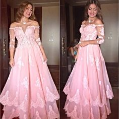 >> Click to Buy << Pink Elegant Long Sleeve Lace Evening Dress Women Off Shoulder robe de soiree vestido de festa longo Sequin Evening Gown China #Affiliate