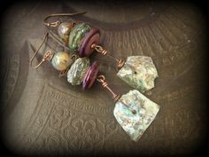 Ancient Roman Glass, Lampwork Glass, Primitive,Organic, Rustic, Copper, Beaded Earrings by YuccaBloom on Etsy
