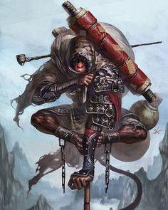 http://bit.ly/1TbAwf9 by ilovefantasyart: Title: Monkey KingArtist: InHyuk Lee #character #monkey #king #assassin #warrior