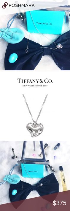 """☆ᴛɪғғᴀɴʏ + ᴄᴏ•ᴱᴸˢᴬ ᴾᴱᴿᴱᵀᵀᴵFull Heart Necklace• • \\Tiffany + Co•// Full Heart ::: Genuine Tiffany + Co• + genuine solid Sterling silver limited edition [sold•out] in stores ::: Chain Length(cm) 42 (approx) / (inches) 16.5 (approx) ::: Pendant [20mm] wide ::: Chain [16""""] Length ::: [3.3grams]•  Top(cm) 1×1 (approx) / (inches) 0.4×0.4 (approx) ::: [Originally $275+ tax] Without tags ::: Comes with sealed box + drawstring Tiffany + Co• pouch• Tiffany & Co. Jewelry Necklaces"""
