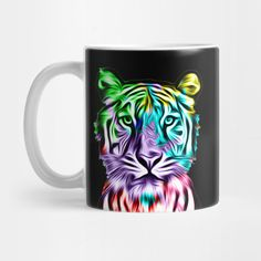 """Grab this awesome """"Colorful Tiger Head"""" design now, and show it off to your family and friends. Tiger Art, Tiger Head, Mug Shots, Big Cats, Gin, Stoneware, Coffee Cups, Great Gifts, Wildlife"""