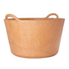 Leather firewood basket