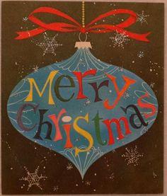 #1791 60s Mid Century Glittered Tree Ornament-Vintage Christmas Card-Greeting