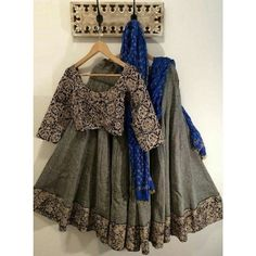 Gray Poly Silk Printed Semi Stitched Lehenga