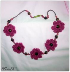 Flower Necklace, Crochet Necklace, Crystal Beads, Crystals, Hand Crochet, Type 3, Facebook, Spring, Simple