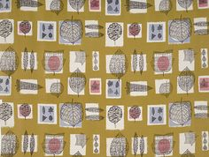 Fall fabric by Lucienne Day circa 1952 . Lucienne Day, Textile Patterns, Textile Design, Fabric Design, Print Patterns, Pattern Designs, Robin Day, Textile Museum, Printed Linen