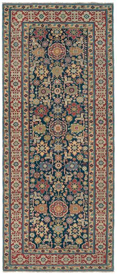 Caucasian Shirvan Runner, 4ft 1in x 9ft 7in, 3rd Quarter, 19th Century.    Challenging the expectations of even experienced collectors, this virtuoso antique Caucasian Shirvan runner brings an abundance of exquisitely refined, elegant imagery to the long rug format. This 19th century tribal rug's deeply emotive color palette includes exotic hues of olive green, burnished gold and ochre.