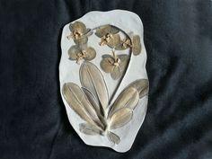 Orchid Plaster Botanical Bass-relief Wall Art/Orchid Arrangement in Gypsum Art/Orchid Wall Decor