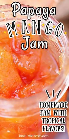 Papaya Mango Jam!! This delicious homemade jam recipe is one of a kind! Papaya mango and lime come together in this exotic, tropical flavors in this easy to make jam! Rhubarb Jam Recipes, Pomegranate Jam, Cooking Jam, Strawberry Rhubarb Jam, Mango Jam, Marmalade Recipe, Jam And Jelly, How To Make Jam